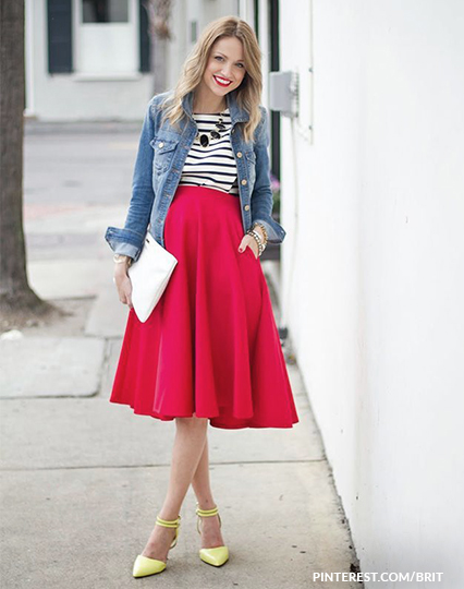 חצאית אדומה בהריון גבוהה