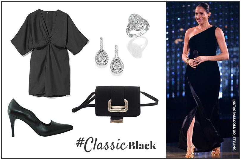 מייגן מרקל שמלה שחורה קלאסית בהריון