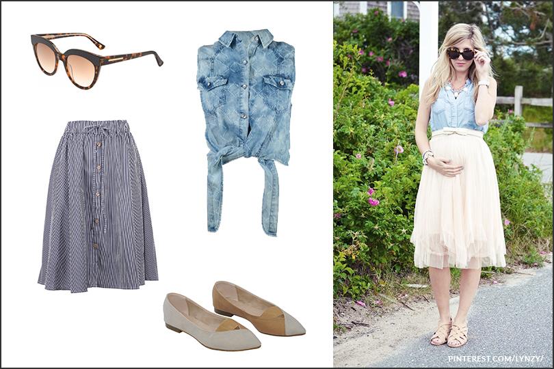 חולצת ג׳ינס בתוך חצאית מותן בהריון