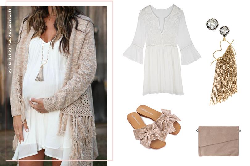 הריון חגיגי - שמלה לבנה בוהו שיק