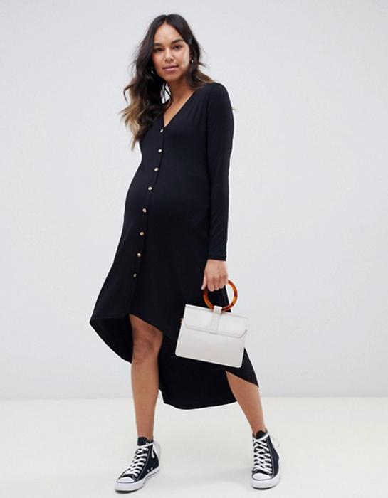 שמלה שחורה בהריון מכופתרת אסוס