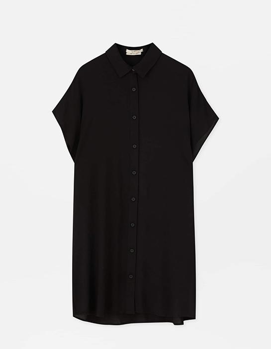 שמלה שחורה בהריון מכופתרת פול אנד בר